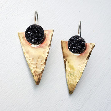 Brass and Sterling Silver Arrowhead Earrings- Handmade with Black Drusy