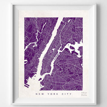 New York, Street Map, Print, Manhattan, NY, NYC, City, Art, State, Beautiful, Town, Bedroom, Poster, Wall Art, Decor, Illustration [NO 475]