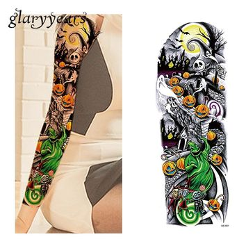 1 Piece Holloween Full Flower Arm Tattoo Sticker Temporary Water Transfer Pumpkin Ghost Unisex Sleeve Art Tattoo Sticker QB-3001