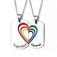 """""""Together Forever"""" Rainbow Necklaces&Pendants Brand Women Stainless Steel Rainbow jewelry For Men"""