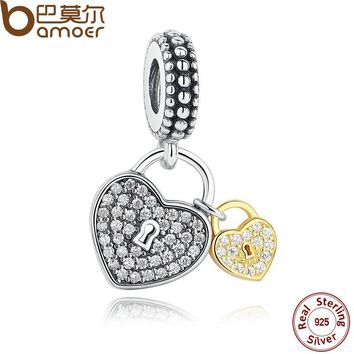 BAMOER Spring Collections 925 Sterling Silver Love Locks, Clear CZ Pendant Charms for Women Bracelet Necklace Accessories PAS263