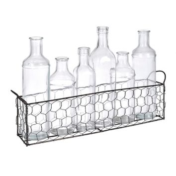 Chicken Wire Bottle Vase Runner, Set of 7