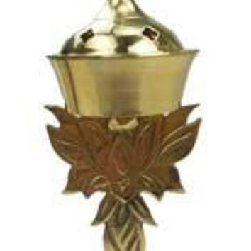 "7 1-4"" Lotus Brass Incense Burner"