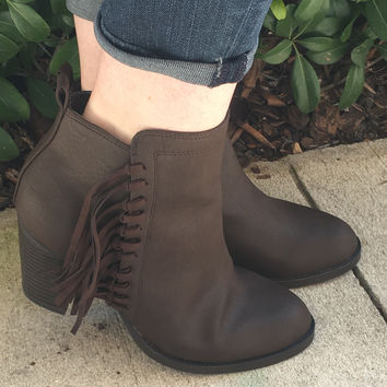 Fringy In Fall Booties - Brown