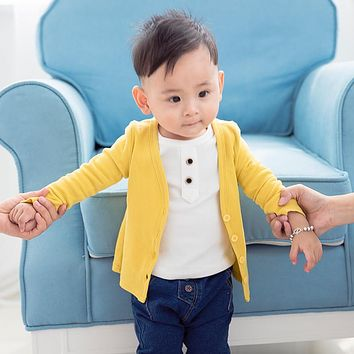Baby Boy Girl Coat Kids Knit Cardigan Buttons Toddlers Girl Spring Jacket Outerwear Children Clothing Baby Tops Cotton Coats