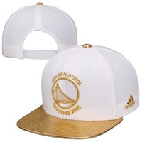 adidas Golden State Warriors Metallic Two-Tone Snapback Adjustable Hat - White/Gold