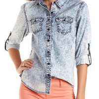 Lt Acid Wash Acid Wash Chambray Button-Up Top by Charlotte Russe