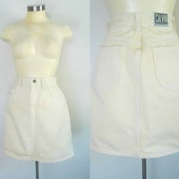 Colored Denim Skirt Pastel Yellow Calvin Klein Vintage 1980s Mini Skirt
