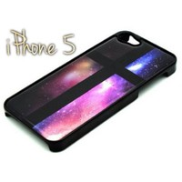 BLACK Snap On Case IPHONE 5 5S Plastic - Cross Galaxy Sky Galactic Space Stars