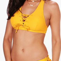 St. Lucia Lace Up Eyelet Cross Back Bikini | Boohoo