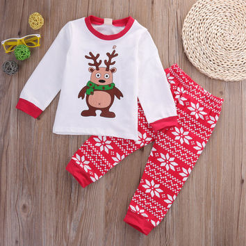 Cute Kids Cotton Christmas Clothe Sets Baby Girl Boy Autumn Long Sleeve Tops Casual Pants Outfits Costume