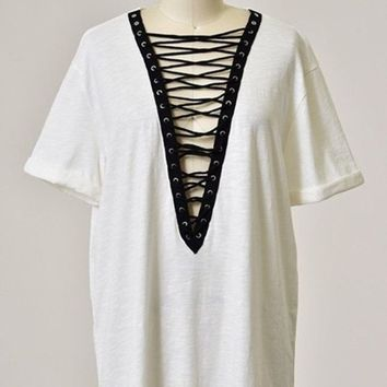 Indie Lace Up Tunic - White