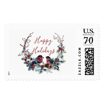 Wreath Happy Holidays Postage Stamp
