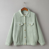 Corduroy bat sleeve jacket pocket green