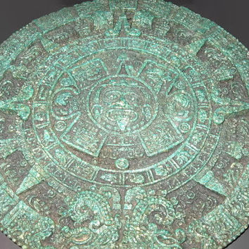 Antique Aztec Calendar, Sun Stone, Wall Plaque, Reproduction, Stone Decor, Green Archaeological Art, Home Decor, Art Piece, Rare Piece