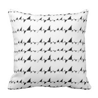 Black and White Wavy Stripes Pattern Throw Pillow