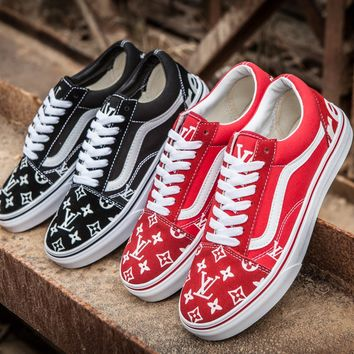 Vans Era x Supreme x LV Old Skool Canvas Flat Sneakers Sport Shoes-