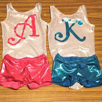 Custom mongram Gymnastics Leotard and shorts 2t, 3t,4t, 5t,6,7,8,9,10,11,12,13,14