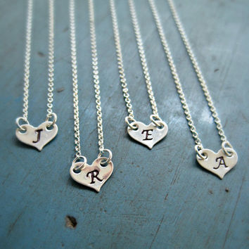 Sterling Silver Initial Heart Necklace Monogram Necklace Personalized Bridesmaid Jewelry