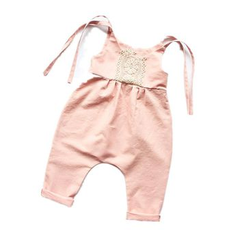 2017 Funny Baby Clothes Lace Ruffles Floral Sleeveless Romper Tiny Cotton Baby Jumpsuits Sunsuit Outfits Baby Onesuit 0-24M