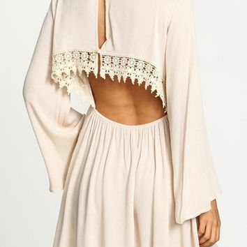 Casual White Plain Lace Backless Bell Sleeve Loose Casual Mini Dress