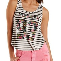 Tropical 93 Graphic Striped Tank Top by Charlotte Russe