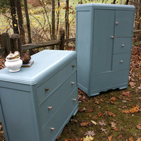 Blue Vintage Waterfall Dresser and Wardrobe