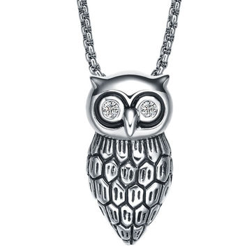 Stainless Steel Night Owl W. Cubic Zirconia Eyes Necklace