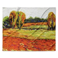 "Jeff Ferst ""Summer Breeze"" Orange Foliage Fleece Throw Blanket"