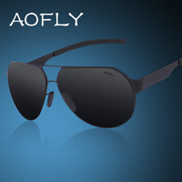 AOFLY Men's Driving Polarized Sunglasses Metal Frame Polaroid Glass Sunglasses Male Designer With Original Case Mirror Goggles
