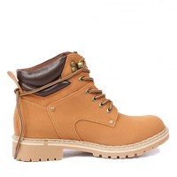 Yab Lace-up Ankle Hiking Boots in Tan @ yabshop.com