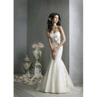 Mermaid Strapless Court Train with Sash Lace Wedding Dress - Cheap Wedding Dresses
