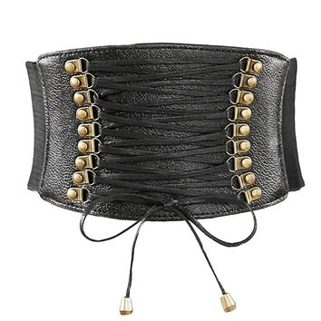 Vintage Steampunk Corset Leather Belt for Women Gothic Lace Up Underbust Corset and Bustiers with Zip Waist Belt Shape Corselet
