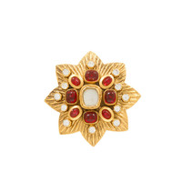 Large CHANEL Maltese Brooch with Gripoix Glass and Faceted Crystals