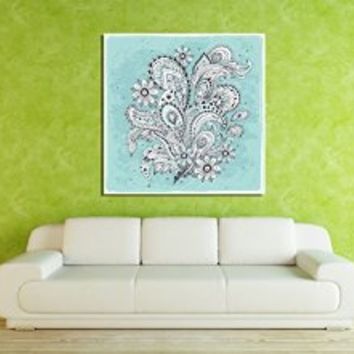 Canik201 Canvas Print Artwork Stretched Gallery Wrapped Wall Art Painting Indian Ornamental Flowers Size 26x26""