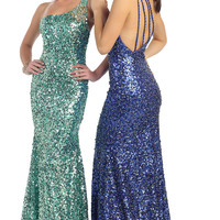 Elegant One Shoulder Sequins Floor Length 2015 Prom Dress Homecoming Gown Sexyy