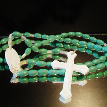 Vintage Teal Green Rosary Sacred Heart Religious Catholic Collectible Gifts