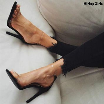 HiHopGirls Hot Women Pumps PVC Clear Silver Buckle Ankle Strap High Heel Stiletto Shoes Woman Party Clubwear Summer Cool Sandals