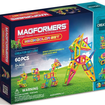 Magformers 60 Pc Neon Color Magnetic Construction Set