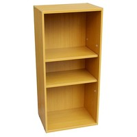 3-Tier Adjustable Book Shelf - Tan Wood - Ore International