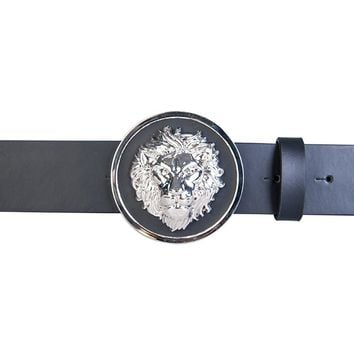 Versace Versus FCU0076 Lion Black Silver Buckle Leather Belt