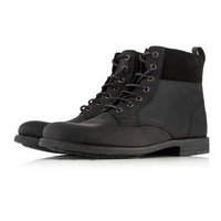 Black Leather Cuff Boots - Clearance