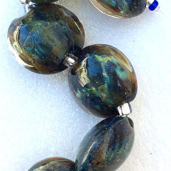 Blue, Amber, Silver Lampwork Glass Beads
