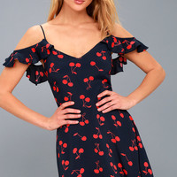Meet the Fam Navy Blue Cherry Print Off-the-Shoulder Dress