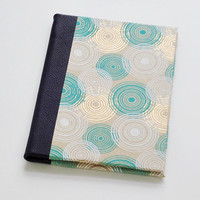 Quarter Leather Jotter - Handbound Journal - Metallic Circles in Gold & Teal with Purple Leather