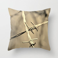 Rustic Decor. Barbed Wire, Yellow Sepia, Cabin Lodge, Country Pillow Cover