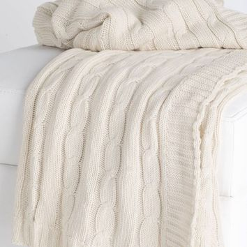 Rizzy Home Cable Knit Cotton Throw | Nordstrom
