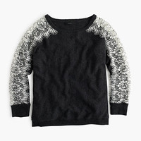 J.Crew Womens Petite Crewneck Sweater With Edged Lace
