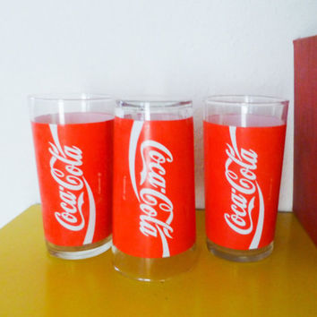 Coca cola glasses, drinking glasses, soda pop, Indiana glass co, 1980s, set of three, retro drinkware, wedding present, housewarming gift