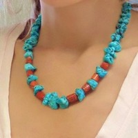 Old Pawn Vintage NATIVE American Turquoise NECKLACE Navajo Red Coral